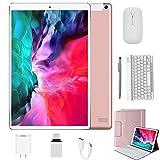 Tablet 10 Zoll Android 10, 4 GB RAM + 64 GB ROM Quad Core 4G Tablet mit Tastatur + Deutsche Tastaturaufkleber + Stift, Type C, 5MP+8MP Kamera, 8000mAh Akku WiFi 4G Dual-SIM/SD Bluetooth (White)