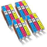 4 Go Inks C/M/Y Set of 3 Ink Cartridges to replace Canon CLI-551 Compatible/non-OEM for PIXMA Printers (12 Pack)