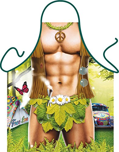 Mega grappig schort met klein schort hippie man grillschort cadeau-artikel voor elke gelegenheid carnaval cadeau-idee plezierartikel
