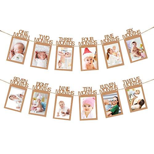 Banner de Foto de Cumpleaños, Bebé Primer Año Marco Bunting Guirnalda, 12 Meses Mensual Fotografía Accesorios Papel Kraft para Decoración Fiesta, Baby Shower, Bautismo, Bautizo, Comunión