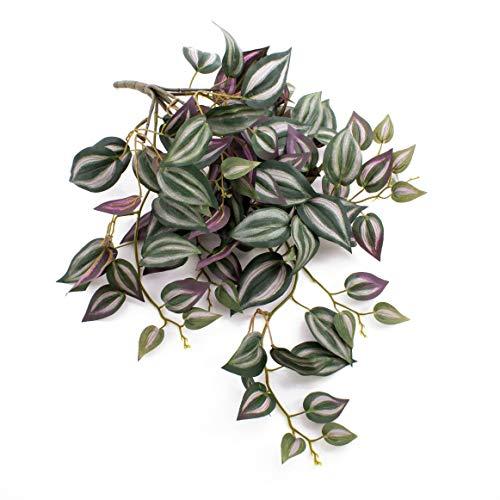 artplants.de Künstliche Tradescantia PACO, grün-weiß - violett, 50cm - Kunst Zimmerpflanze - Deko Hängepflanze