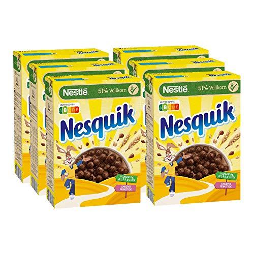 Nestlé Nesquik Knusper-Frühstück (Schoko Cerealien mit Vollkorn) 6er Pack (6 x 375 g)