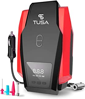 TUSA Digital Car Tyre Inflator - 12V DC Portable Air Compressor with LED Light (2 Years Warranty)