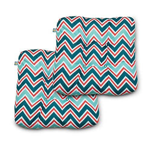 Duck Covers Water-Resistant 19 x 19 x 5 Inch Indoor Outdoor Seat Cushions, Zaggle Teal Chevron, 2-Pack