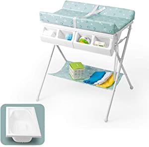 LXLA Foldable Baby Changing Table with BathTub  Toddlers Bath Btation Diaper Dresser for Nursery School  Color GREEN