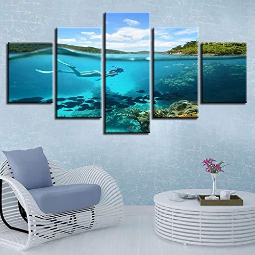 Sala de estar decorativa lienzo imagen póster 5 piezas buceo en el fondo marino y peces mar pintura HD imprimir arte de pared