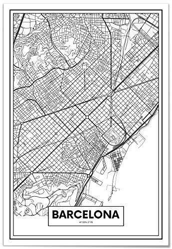 Panorama Póster Mapa de Barcelona 21x30cm - Impreso en Papel 250gr - Póster Pared - Cuadros Modernos Decoración Salón - Cuadros para Dormitorio - Póster Decorativos