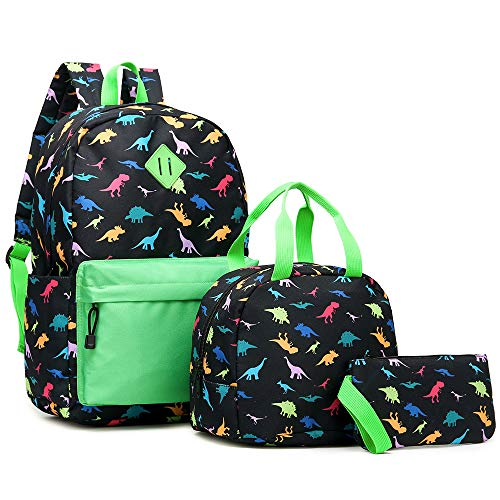 Girls Backpack with Lunch Bag Pencil case, Canvas 3 in 1 School Bags for Grade Middle High School Teen Girls (Black Dinasour)
