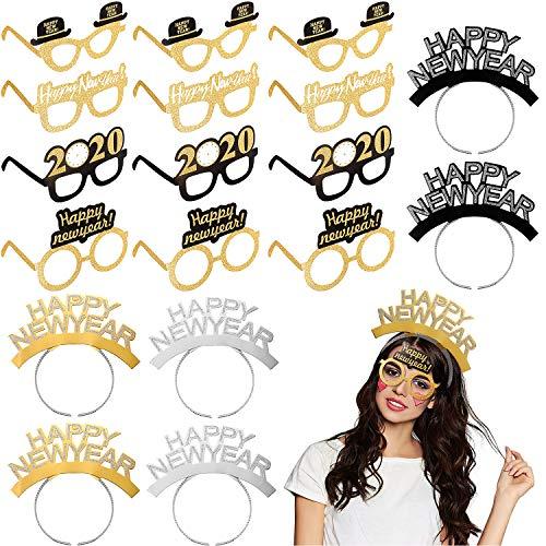 18 Piezas Gafas de Happy New Year Gafas de 2020 con Purpurina y Accesorios de Foto de Diademas de Happy New Year para Suministros de Fiesta de Años Nuevo de 2020
