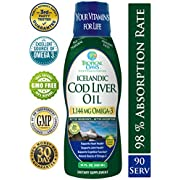 Icelandic Cod Liver Oil | Maximum Strength 1144mg of Liquid Omega 3 Fish Oil | Wild-Caught Natural Omega-3 Fish Oil for Heart, Brain & Joint Health | Lemon Flavor, Non GMO, 3rd Party Tested | 90 Serv