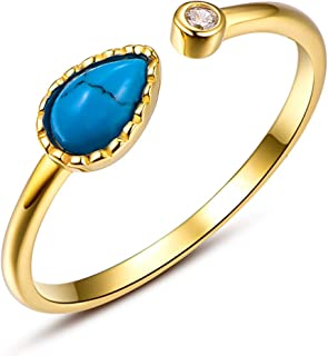 Pear Cut Turquoise Open Adjustable Ring Sterling Silver Plated 14K Yellow Gold Friendship Rings Birthday Gift for Women