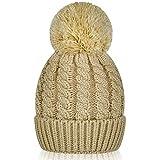 Women's Winter Beanie Warm Fleece Lining - Thick Slouchy Cable Knit Skull Hat Ski Cap (Beige)