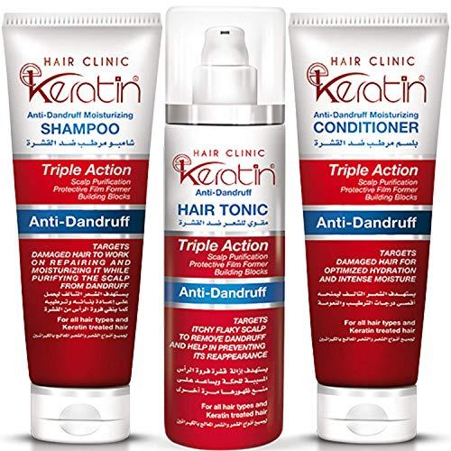 Eva E Keratin E-Keratin Hair Clinic Shampoo & Conditioner & Serum Anti Dandruff Tonic