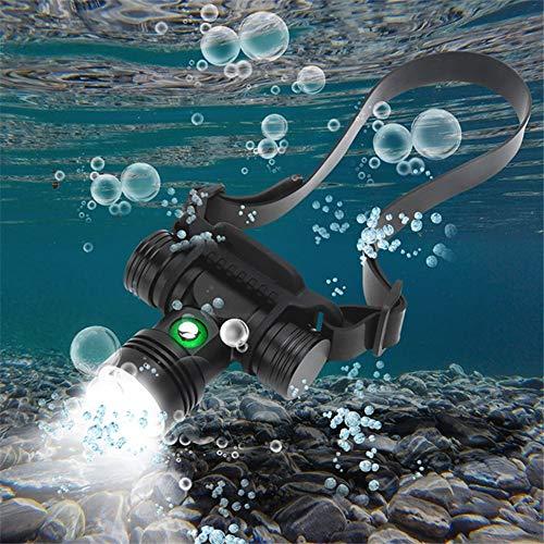 Linterna frontal de buceo recargable, superbrillante, 2000 lúmenes luz frontal buceo IPX8 impermeable luz buceo 3 modos subacuática 100M linterna frontal para natación buceadores deportes acuáticos