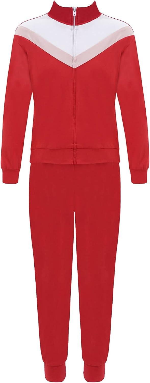 Hansber Kids Girls Turtleneck Sweatshirt with Sweatpants Sweatsuit Sets Long Sleeve Zipper Jacket Top&Pants Tracksuit