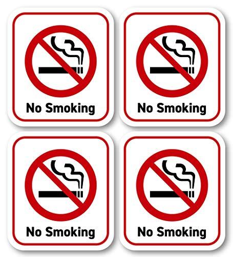 禁煙ステッカー M 英語 No Smoking 防水・耐水 小型 シール 41x46mm 4枚セット (ホワイト)