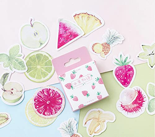 DONGJI Fruit Story Boxed Stickers Aquarel Aardbei Ananas Watermeloen Handboek Dagboek Decoratie Stickers 45 stks