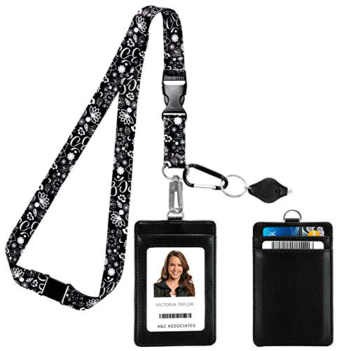 OM Lotus Mandala Yoga Spiritual Symbols in Black & White Print Lanyard with PU Leather ID Badge Holder Wallet with 3 Card Pockets, Safety Breakaway Clip, Note Card. Carabiner Keychain Flashlight