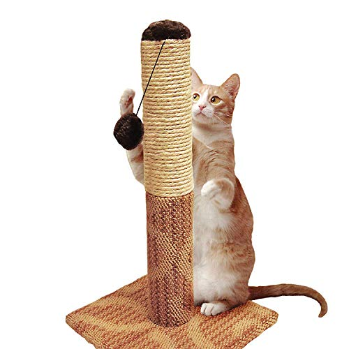 Four Paws Super Catnip Cat Scratching Post, 21' Tall Sisal and Carpet Scratching Post