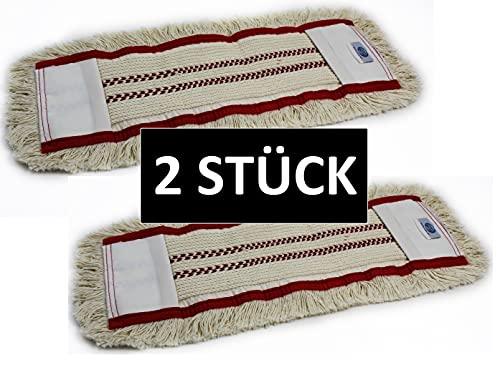 Gizmop 2 Stück 40 cm Wischmop aus 100% Baumwolle Wischmopp - Parkett Baumwollmopp - Wischbezug zur Echtholz trocken und nass Bodenpflege - Bodenwischer für Parkett Dielen Laminat