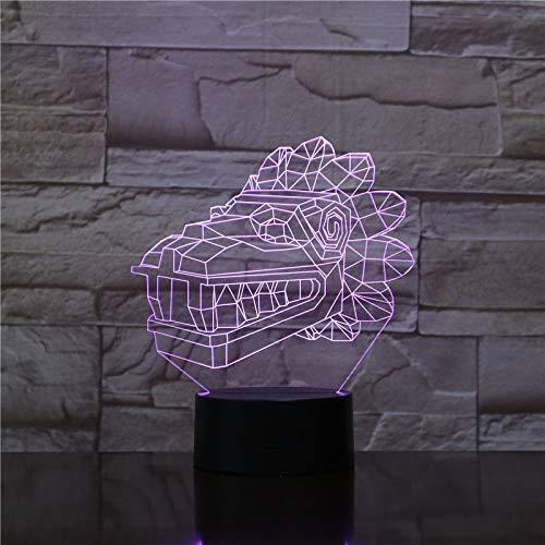 3D nachtlampje, optische illusie Crocodile Minions, nachtlampje, 7 kleuren, afstandsbediening, decoratieve led-touch tafellamp