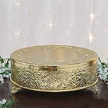 Efavormart 18 inch Gold Round Embossed Metal Cake Plateau Stand Riser Wedding Birthday Party Dessert Cake Pedestal Display Plate