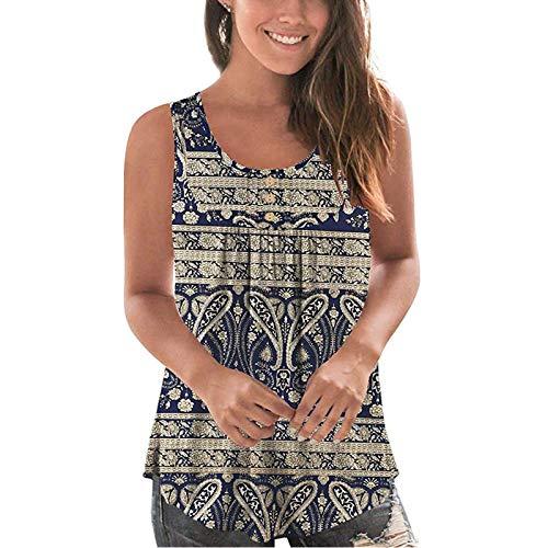 Camiseta de verano sin mangas plisada con botones, informal, sin mangas, con detalles sexi