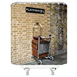 Feierman Platform 9 3/4 Shower Curtain Decor Magical Portal to World Wizarding School Fabric Bathroom Curtain Decor Mildew Resistant Machine Washable with Hooks 70x70Inches (Multi 4832)