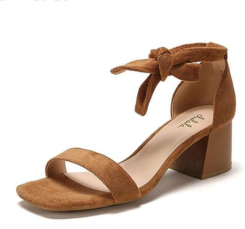 Encre Chaussures Talon Haut féminin Couleur Unie Noeud Papillon élégant et élégant avec des Sandales à Bride Cheville épaisse Cheville (Couleur   marron, Taille   35)