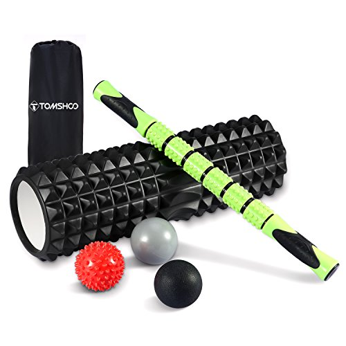 TOMSHOO Rouleau de Massage 6 en 1 Kit, Foam Roller...