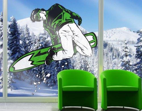 Fenstersticker No.IS55 Snowboarding Ski Winter Snowboarder Berge Schnee Ski Fenstersticker Fensterfolie Fenstertattoo Fensterbild Fenster-Deko Fensteraufkleber Fensterdekoration Glas-Sticker Farbe: Weiß; Größe: 122cm x 122cm