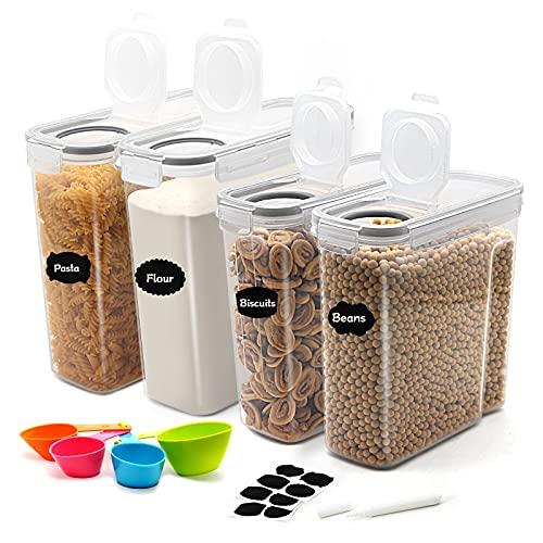 JUCJET 2.5L/4L Recipientes para Cereales, Sin BPA Botes Cocina Tarro de Almacenamiento Plástico con Tapa Hermétic, Juego de 4 + 12 Etiquetas, para Cereales, Pasta, harina