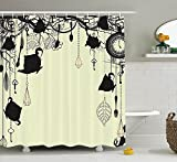 Antique Decor Shower Curtain , Antique Background with Tea Party Theme Diamonds Feathers