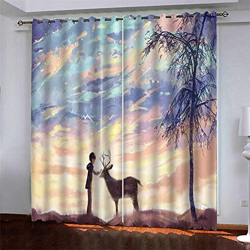 YUNSW Curtains 2 Piece Set,Abstract 3D Digital Printing Polyester Fiber Curtains, Garden Living Room Kitchen Bedroom Blackout Curtains