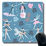 Luancrop Mousepads Tanz Blue Ballerina Magic Fairies Elfen Grafik Vintage Pink Ballet Boy Charakter Cute Design Hearts rutschfeste Gaming Mouse Pad Gummi-Matte
