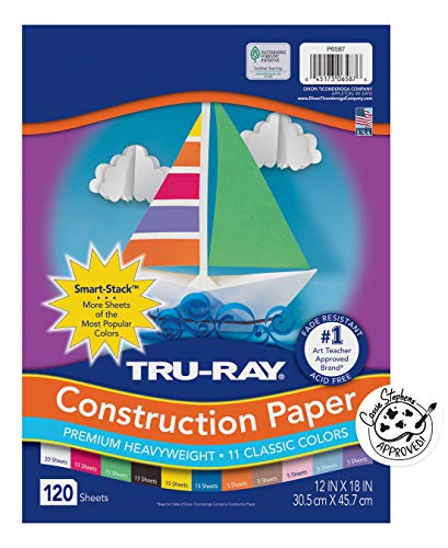 Pacon Tru-Ray Assorted Colors Smart Stack, 12' W x 18' L (Pack of 120)