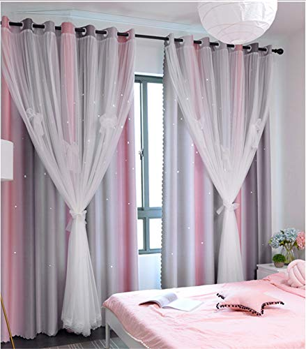 Yancorp Curtains for Girls Bedroom Kids Curtain Baby Nursery Hollow-Out Star Window Curtain 72 inches Length Room Darkening Grommet 2 Layers(Pink Grey, W52 X L72)