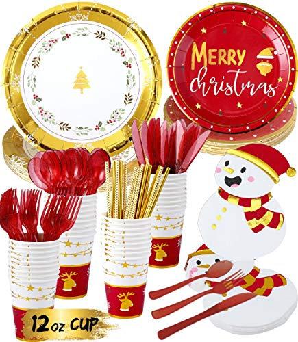 Christmas Party Supplies - Serves 20 - Heavy-duty Disposable Dinnerware Sets Includes Christmas Paper Plates and Napkins, 12oz Cups, Cutlery, Straws Christmas Plates Disposable Holiday Plates