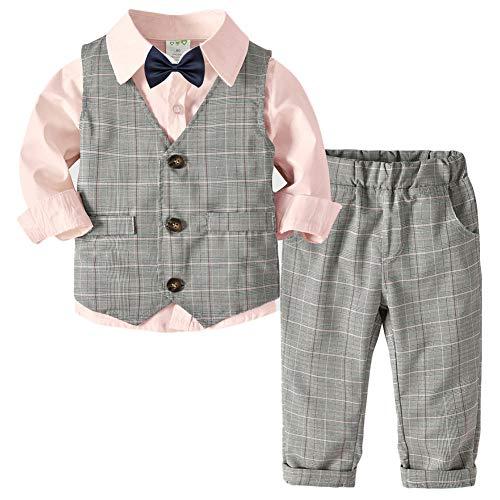 QitunC Bebé Niño Conjunto Gentleman Ropa Bowtie Camisa + Chaleco + Pantalones Traje de Bautizo Fiesta Boda Ceremonia