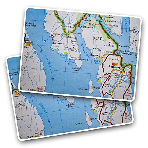 Awesome Rectangle Stickers(Set of 2) 7.5cm - Isle of Bute England Travel UK GB Map Fun Decals for Laptops,Tablets,Luggage,Scrap Booking,Fridges,Cool Gift #45411