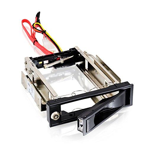 CSL - Telaio Removibile da 5,25 Pollici SATA Mobile Rack - Telaio per Disco Fisso SATA I II III HDD in Slot per unità da 3,25 Pollici - Fino a 6.0 GBit s - Kit antivibrazioni - chiudibile