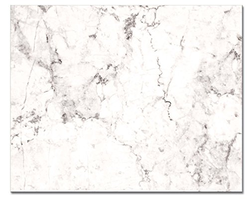 """CounterArt Tempered Glass Counter Saver 15"""" x 12"""" White Marble Design - Printed in the USA"""