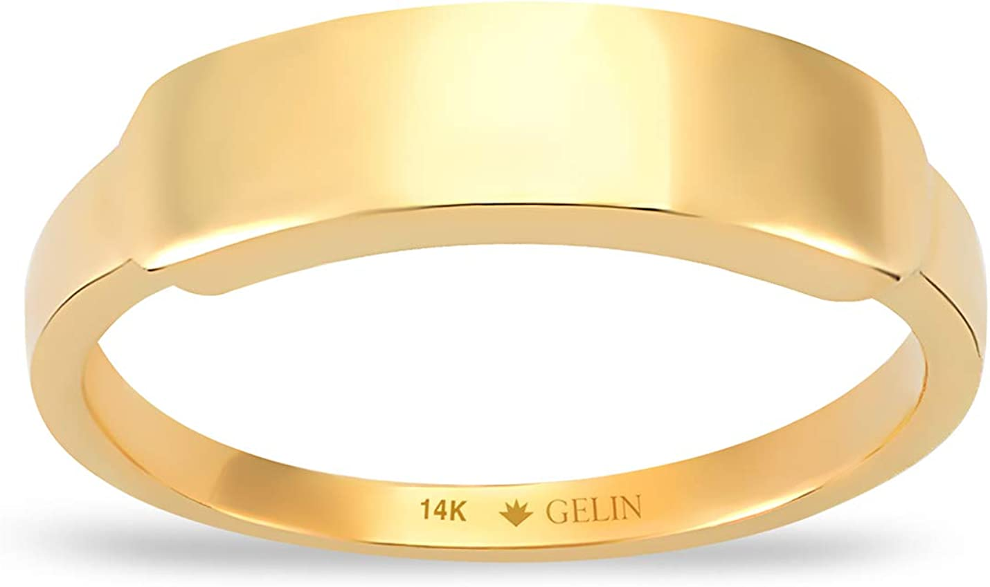 GELIN Bar Signet Stacking Ring in Vintag Dainty 14k Solid Recommendation Gold Spring new work