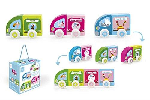 Scratch Preschool: Petites Voitures MAGNÉTIQUES (Florist/Beautyfarm/Ice Cream) 8.5x4x5.5cm, 3 Voitures en 6 pièces, en Bois, en boîte, 18m+