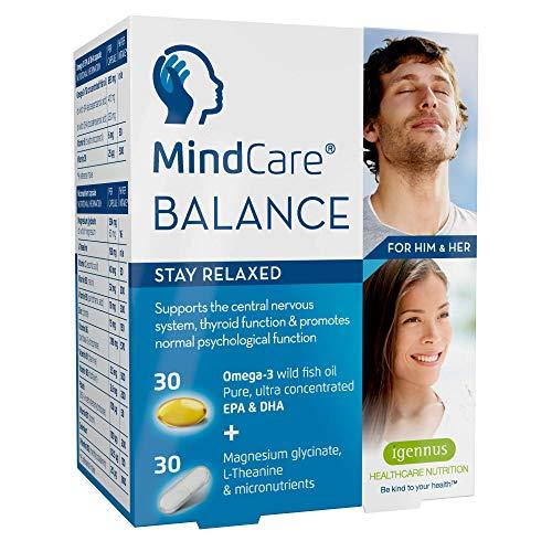 MindCare BALANCE, natürliche Unterstützung bei innerer Unruhe und Stress, mit Omega-3, Magnesium, L-Theanin & einem Vitamin B Komplex für das Nervensystem; 60 Kapseln für 1 Monat