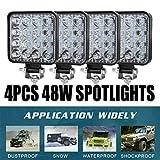4PCS 48W Faro Trabajo Led, Focos LED Tractor 12V Cuadrado para Tractores Luz de Niebla Coche, Tractor, SUV, UTV, ATV, Off-road, Camión, Barco,Moto