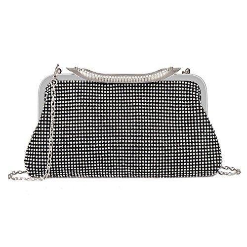 EULovelyPrice Women's Dazzling Crystal Rhinestone Wedding Evening Purse Handbag Bags (Nero)