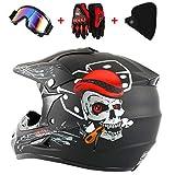 QHYXT Casco da Motocross Moto Fuoristrada Dirt Bike Cool Fantastico Casco Dual Sport Endurance Race/Occhiali/Maschera/Guanti da Gara, S, M, L, XL,M(54-55)-Black