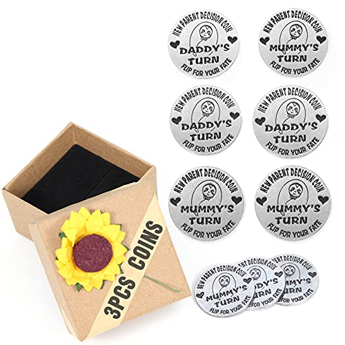 Byhoo New Parents Gifts Decision Coin 3 PCS for Mom and Dad, First Time...