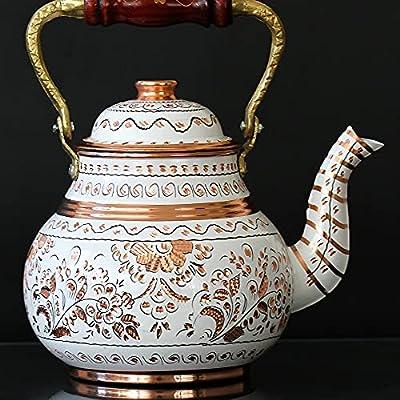 Vintage Copper Turkish TeaPot Tea Kettle Pot for Stovetop - Antique White Floral Teapot, Handmade for Serving Arabic Decorative Kitchen Birthday Home Centerpiece Gift Women 2.1 Quartz